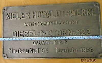 Vintage Engine Builder Brass Original Plaque/Plate KIELER HOWALDTSWERKE 1966