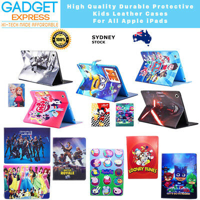 Kids Gift Cartoon Leather Stitched Flip Case Cover For iPad 6th 5 Gen Mini Air 2