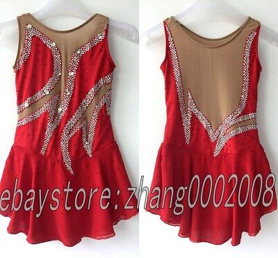 Ice skating dress.red Competition Figure Skating /Baton Twirling dress child12