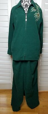 d8999c567f1bd2 Vintage Bob Mackie Phoenix Suit Womens Large Green Long Sleeve Bird Stitched