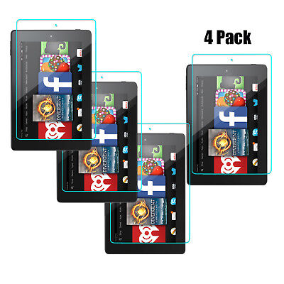 4 Pack Tempered Glass Screen Protector For Amazon Kindle Fire 7 (7th Gen 2017)