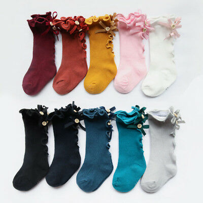 Toddler Kids Baby Girls Knee High Long Socks Bow Cotton Casual Stockings 0-8Y