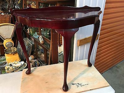 Vintage Cedar Curved Hall Table Stand Queen Anne Cabriole Legs Made in Australia