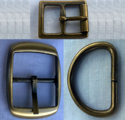 Metal Buckles 25mm 16mm Dee Full Antique Brass (2pc)