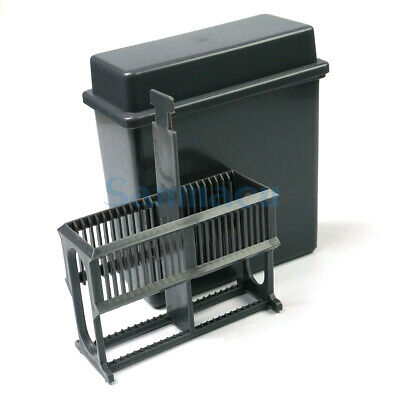Gray PP Staining Rack Jar For 24 Slots Glass Slide Lab Apothecary Chemist