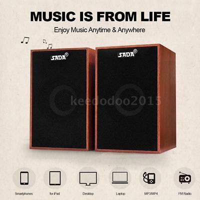 SADA USB Wired Wooden Combination Speakers Stereo Music For Desktop Laptop Q8Y1