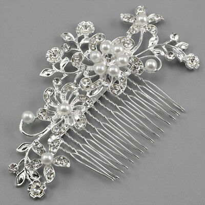 Bridal Wedding Diamante Crystal Rhinestone Flower Hair Clip Comb Pin Headband