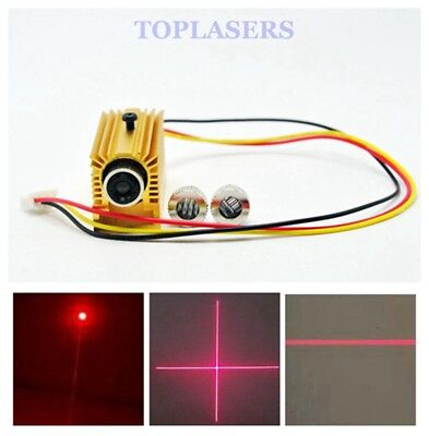 Focusable 10mW 650nm Red Dot/Line/Cross Laser Diode Module w/ TTL &12mm Heatsink