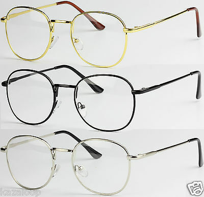 Oval Round Lens Slim Metal frame Clear lens Fashion glasses