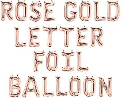 "Rose Gold 16"" Alphabet Letter & Number Foil Balloons *NAME * BIRTHDAY PARTY IROS"