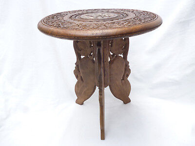 1960s VINTAGE INDIAN CARVED FOLDING SMALL ROUND TABLE - 30cm diameter, 32cm high