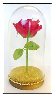 "Handmade ""RED ROSE IN GLASS DOME"" Inspired by BEAUTY AND THE BEAST"