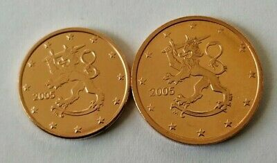 Finland euro coins 1 cent and 2 cents UNC