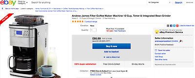 Andrew James Filter Coffee Maker Machine 12 Cup Timer