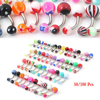 50/100Pcs Belly Button Navel Ring Bar Bars Body Piercing Jewellery Rings Steel F