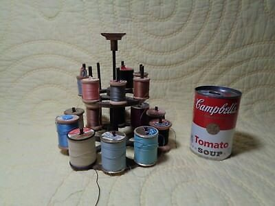 Antique Bronze Brass Sewing Caddy Thread Spool Carousel Spins 2 Tier