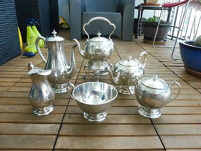 Late 19Th C English Sheffield  Joseph Rogers 6 Piece Sterling Silver Tea Set