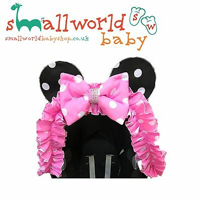 Pram Hood Trim Pushchair Buggy Universal Custom Minnie Mouse Accessory Girls