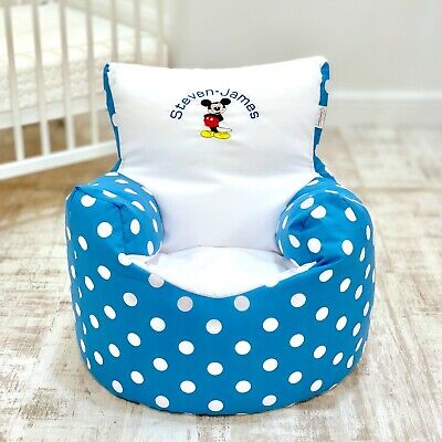 Childrens Kids Pre Filled Personalised Bean Bag Chair Seat Boys Mickey Mouse
