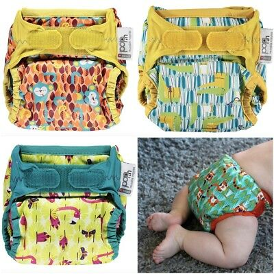 Nappy Wrap Close Parent Pop in Single Printed Reusable One Size Use with 2 Part