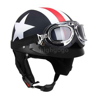 Half Open Face Motorcycle with Goggles Visor Scarf Scooter Tour Helmet TO N6E2