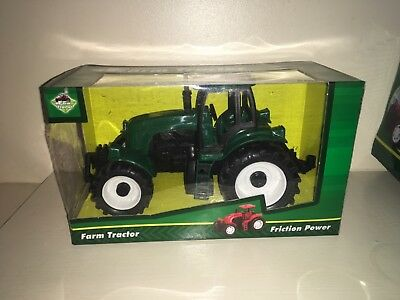 "Green Plastic 6"" Friction Toy Farm Tractors New Boxed"