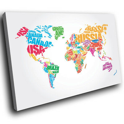 Abstract colourful map of the world canvas wall art picture print zab1316 colourful world map modern canvas abstract home wall art picture prints gumiabroncs Gallery