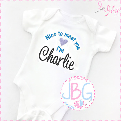 Personalised Baby Boy/girl Vest Embroidered onsie,Nice to meet you!New baby gift
