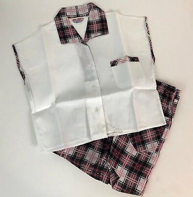 Vintage NOS 50s Atomic White & Pink Plaid Cap Sleeve Blouse & Shorts Set Girls 5