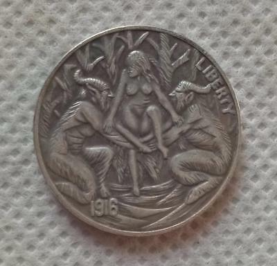 Hobo Nickel Coin 1916-D BUFFALO NICKEL 2 DEVILS AND GIRL COIN