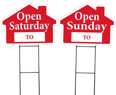 Large OPEN SATURDAY and OPEN SUNDAY House Shaped Sign Kit w/ Stakes