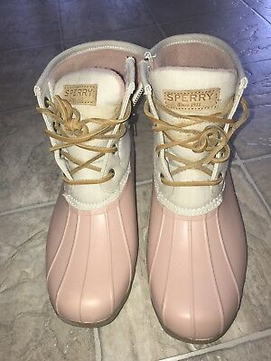 33cc7d10f50 SPERRY TOP-SIDER CANVAS duck boots saltwater ROSE OAT womens 7.5 M ...