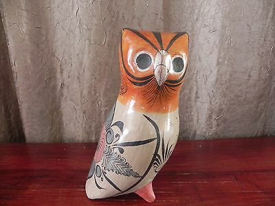 Traditional Clay Pottery Hand Painted Primitive Folk Art Owl Figurine Mexico