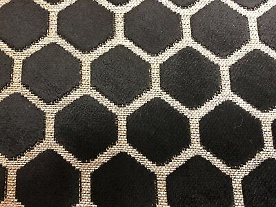 Hive Honeycomb Cut Luxury Velvet Grey Curtain/upholstery Fabric  Black/Silver