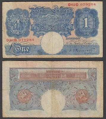 Great Britain 1 Pound ND 1940 (F-VF) Condition Banknote KM #367 (D63D)