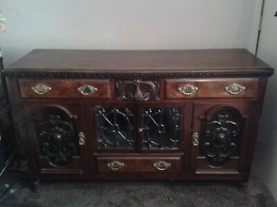 Antique sideboard, Victorian, dark wood, carved/moulded .Condition fair/good