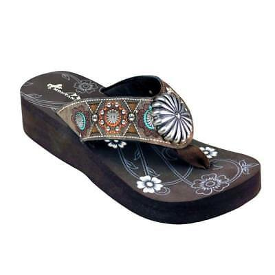 90bc3150c0fb6 Montana West Flip Flops Western Women s Fashion Wedge Sandals Coffee Floral  NEW