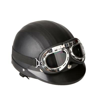 Cool Motorcycle Scooter Open Face Helmet with Visor UV Goggles UK Deliver F1G5