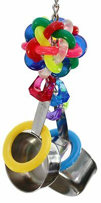 Bird Toys For Cage Fun Wibbly Ball Colorful Rings Noise Spoon Medium to Large