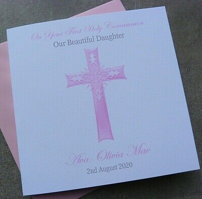 Personalised Christening- Baptism- Holy Communion Card Grandson Son Daughter