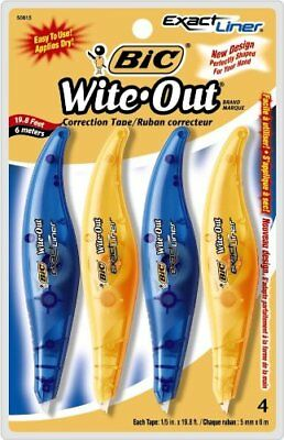 BIC Wite-Out Exact Liner Correction Tape, White, 4 Tapes