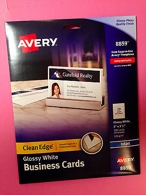 """Avery 8859 White Glossy Clean Edge Business Cards 2"""" x 3.5"""" 200 Count Free Ship"""
