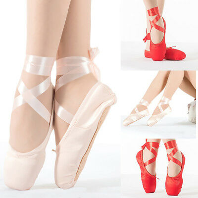 Pink Ballet Dance Toe Shoes Professional Lady girl Children's Satin Point Gift#