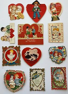 Vintage 1930's Lot of 12 Die Cut Valentine's Day Cards Pirate Bear