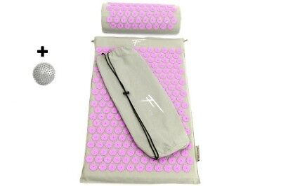 kit acupression acupuncture massage relaxation sport 68x42x2,5cm gris/purple