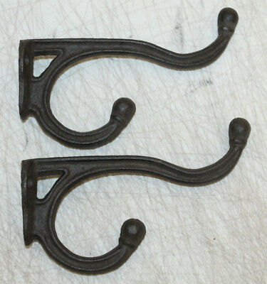 Black Cast Iron Victorian Ornate Double Wall Hook Plant Hanger Coat Hat Towel