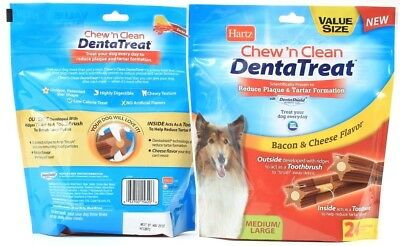 2 Hartz Chew'n Clean Bacon Cheese Flavor 24 Denta Treat Large Best By 12-19