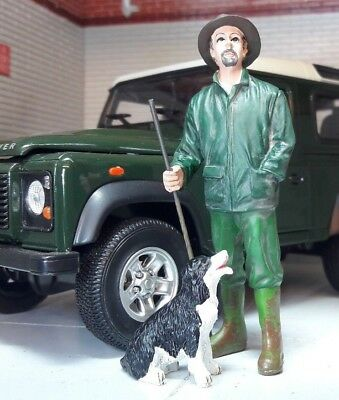 G LGB 1:24 Scale Farmer Man & Dog Figures Farm Land Rover Workshop Diorama Model