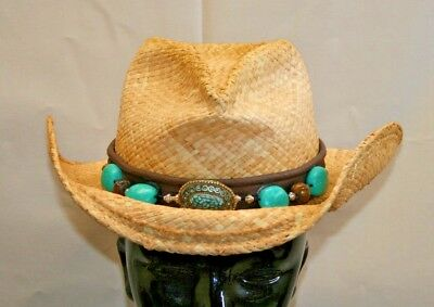 39692059f SHADY BRADY WESTERN Cowboy Shapeable Berber Light Straw Hat With Turquoise