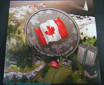 2015 $25 for $25 Canadian Maple Leaf Flag .9999 1/4oz Silver coin Canada 20for20